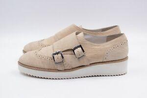 GERRY WEBER Damen Halbschuhe EUR 37 UK 4 Beige Echt Leder Sneaker Schuhe