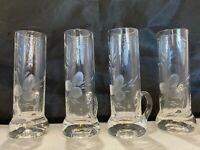 Set 4 Cordial Liqueur Aperitif Shot Glasses Crystal Hand Etched Hand-blown Vg KB