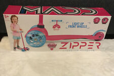 Zycon-Zipper Glow And Ride 3 Wheel Scooter With Light Up Wheels Pink/Teal