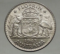 1943 AUSTRALIA - FLORIN Large SILVER Coin King George VI Coat-of-Arms i56680