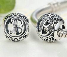 hot letters B European Silver CZ Charm Beads Fit sterling 925 Bracelet Chain #4