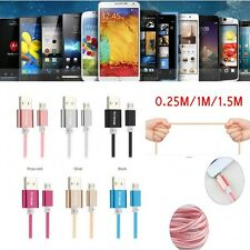 New 1/1.5m Braided Metal Micro USB Data&Sync Charger Cable For Android Phones