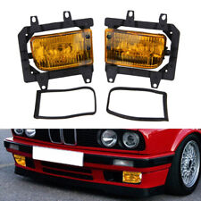 For 85-93 E30 3-Series Front Bumper Crystal Yellow Fog Light Lamps Lens Kit