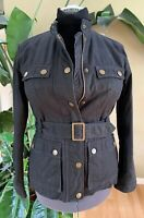 Boden Black Military Style Belted Jacket  Size 6 Button Up Zip Up Coat $160