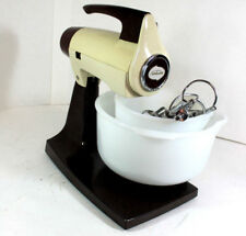 Vintage Sunbeam Mixmaster 12-Speed White Electric Mix w/ 2 Milk Colored Bowls