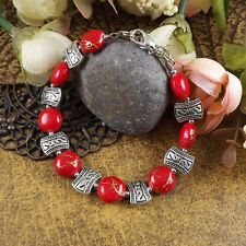 Free shipping New Tibet silver multicolor jade turquoise bead bracelet S07