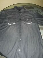 INC Men's Pearl Button Shirt, Gray Distressed M Excellent Condition