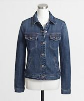 J CREW Womens Jacket Denim Jeans Bomber Jacket Distress Medium Wash Blue size XS
