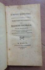 INCHBALD MISTRISS SIMPLE HISTOIRE 1791 EDITION ORIGINALE RELIURE D'EPOQUE