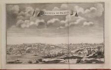 PRAGUE CZECH REPUBLIC 1740 SALMON ANTIQUE ORIGINAL COPPER ENGRAVED CITY VIEW