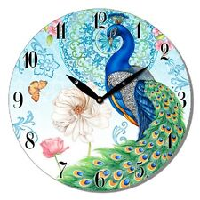 Wall Clock Peacock Round Wooden 29cm