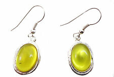 ELEGANT YELLOW/SILVER SUMMER INSPIRED BRIGHT GEMSTONE VIBRANT EARRING(ZX11)