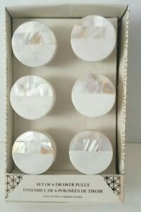 DRAWER PULLS ORIGINAL MOTHER OF PEARL AND MARBLE BOX SET OF SIX NEW IN BOX