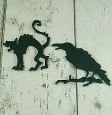 8 Nero Feltro CORVI & gatti Die Cut Halloween APPLIQUE Bunting, Abbellimenti