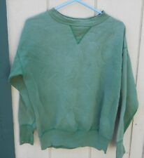 VINTAGE 60'S MEN'S GREEN PULL-OVER SWEAT SHIRT SZ LRG SOLD AS IS SOME STAINS