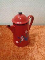 Esmalte Jarra de Café - Rojo / Corazones & Pájaro - Vintage - Shabby Chic - 0,7