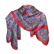 Foulard scialle indiano rosso motivo Paisley 100x100 cm 100% seta