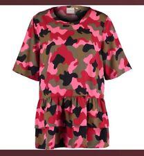 Ladies Junarose Pink & Green Camo Ruched Ruffle Trim Blouse Size 20