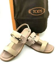 TOD'S 100% Italian Leather Ankle Strap Sandals in Almond US SZ 7.5 BRAND NEW!