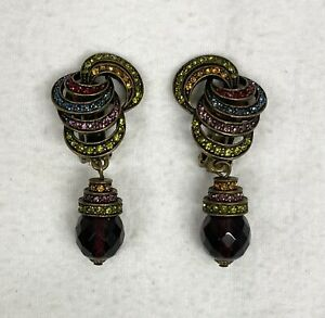 Heidi Daus Rhinestone Dangle Clip Earrings