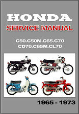 HONDA Workshop Manual CL70 CD70 C70 C65 C65M C50 C50M 1965 - 1973 Service Repair