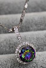 18K White Gold Filled - 9MM MYSTICAL Rainbow Topaz Hollow Pendant Women Necklace