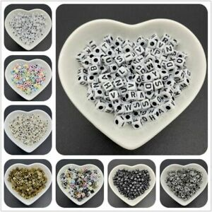 100pcs/lot Letter Spacer Charm Beads 5mm Square Alphabet Bead Jewelry Making Acc
