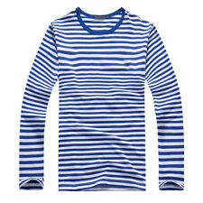 NEW Men's Casual Long Sleeves Tops Shirt Striped Crew Neck Pullover Basic Tee XL
