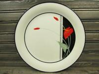 Anthurium by Sango Dinner Plate Red Flowers Green Stems Black Trim L222