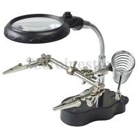 LED Light Soldering Iron Stand Helping Hands Magnifier Glass Clamp Tool Adjust
