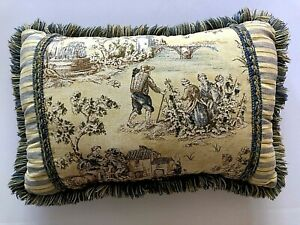 Waverly Toile Throw Decorative Accent Pillow Blue Yellow 12x20 Fringe