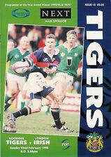 Leicester V Londres irlandés-C & G programa Rugby Taza 22 de febrero de 1998
