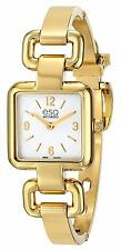 Movado ESQ Womens Status Gold Tone Square Swiss Quartz Watch Silver Dial 7101421