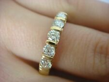 ELEGANT 14K YELLOW GOLD 0.50 CT.T.W. BAR SET DIAMOND WEDDING BAND, 3.2 MM WIDE