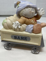Vintage Coin Bank Ceramic Scarecrow Cart Pumpkin Piggy Bank Train Cart.