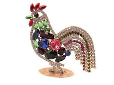 Large Czech glass rhinestone cockerel cock rooster Christmas Easter ornament
