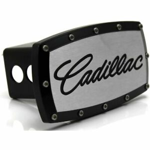 "Cadillac Billet 2"" Tow Hitch Cover Plug Engraved Billet Black Powder Coated"