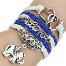 Leather Bracelet with Intwined Hearts Love and Elephant Charm