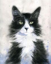 Original Tuxedo Cat Painting Watercolor Art 8x10 Black White Long hair