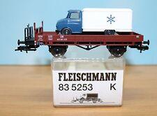 Fleischmann 835253 -Spur H0- DB Niederbordwagen + Kühl LKW, Epoche 3