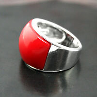 RARE RED CORAL GEMSTONE 925 STERLING SILVER JEWELRY RING SIZE 7/8/9/10