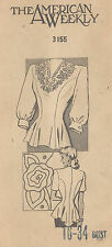 1940s Vintage Sewing Pattern B34 BLOUSE & EMBROIDERY TRENSFER (R979)