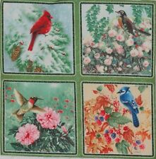 "Birds Robin Blue Jay Fabric Hummingbird 5.5"" Quilt block Squares Giordano"