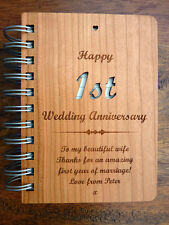 Personalised 1st Wedding Anniversary Wood Cover Journal: Traditional Paper Gift