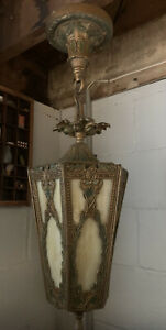 Antique Gothic Hanging Light Stained Glass Cast Metal