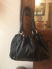 Donald Pliner Waverly SOFT PLEATED BLACK Leather Drawstring Hobo PURSE Handbag