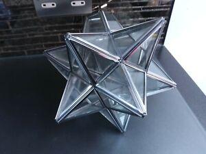 VINTAGE WHITE METAL & GLASS STAR CEILING PENDANT LIGHT SHADE.21cm dia