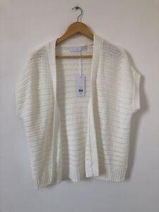 White Company Label Damen Strickjacke Gr. 14 Strick Wickel Kurzarm Baumwolle