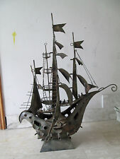 NAVE IN FERRO BATTUTO BRONZATO DA APPOGGIO 120X94 cm - ANNI 80