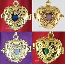 Gelbgold beschichtete Modeschmuck-Halsketten & -Anhänger im Medaillon-Stil mit Herz